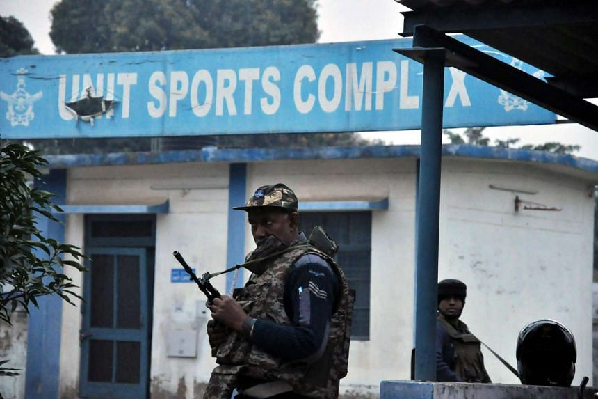 Soldiers standing guard outside the Indian Air Force base in Pathankot on Jan 4.