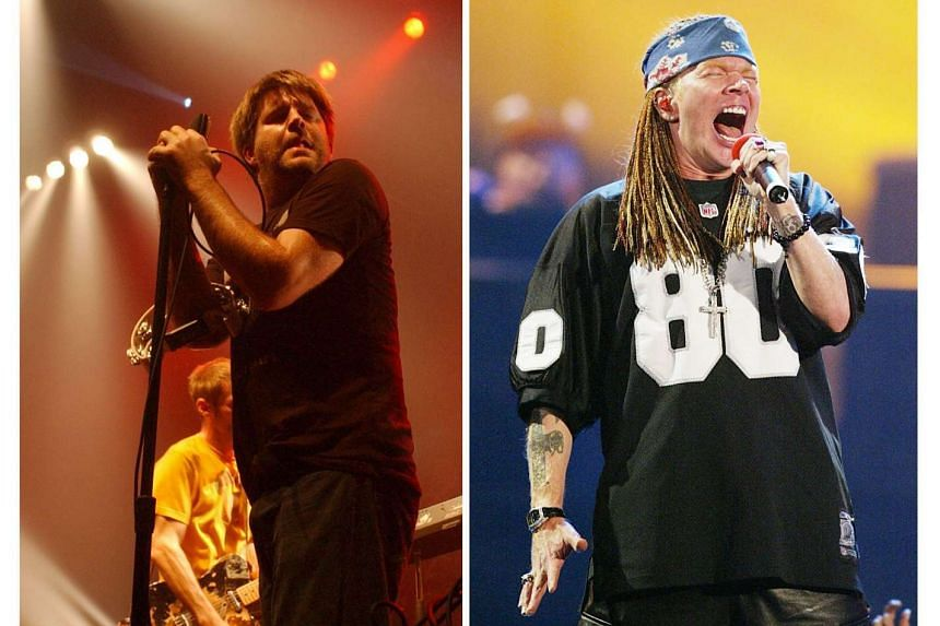 LCD Soundsystem's James Murphy (left) and Guns N' Roses' Axl Rose performing in 2005.