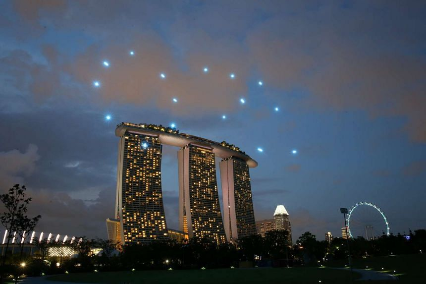 Drones forming the number 50 against a backdrop of Marina Bay Sands during the preview.
