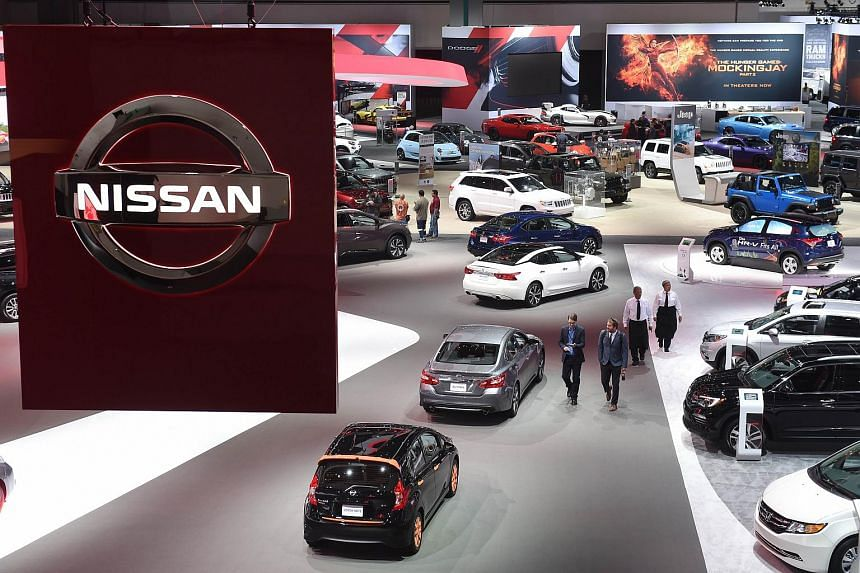 A Nissan sign is seen in this general view of the 2015 Los Angeles Auto Show in Los Angeles, California, on Nov 19, 2015.