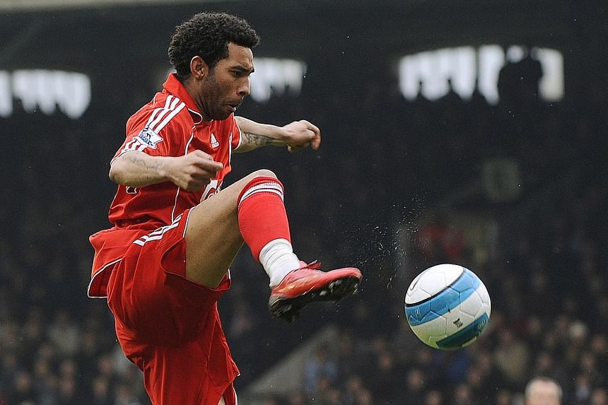 Jermaine Pennant in action for Liverpool, with whom he reached the Champions League final. However, he was released by the Reds after three years.