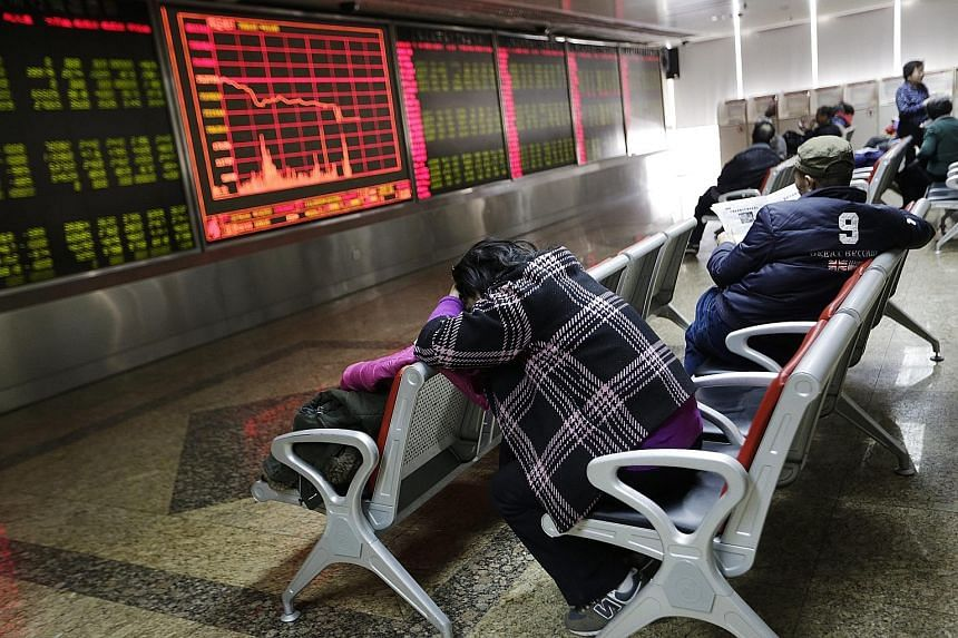 Poor manufacturing data sent China's blue-chip CSI 300 Index diving 7 per cent yesterday, triggering a new circuit-breaker mechanism that suspended trading.