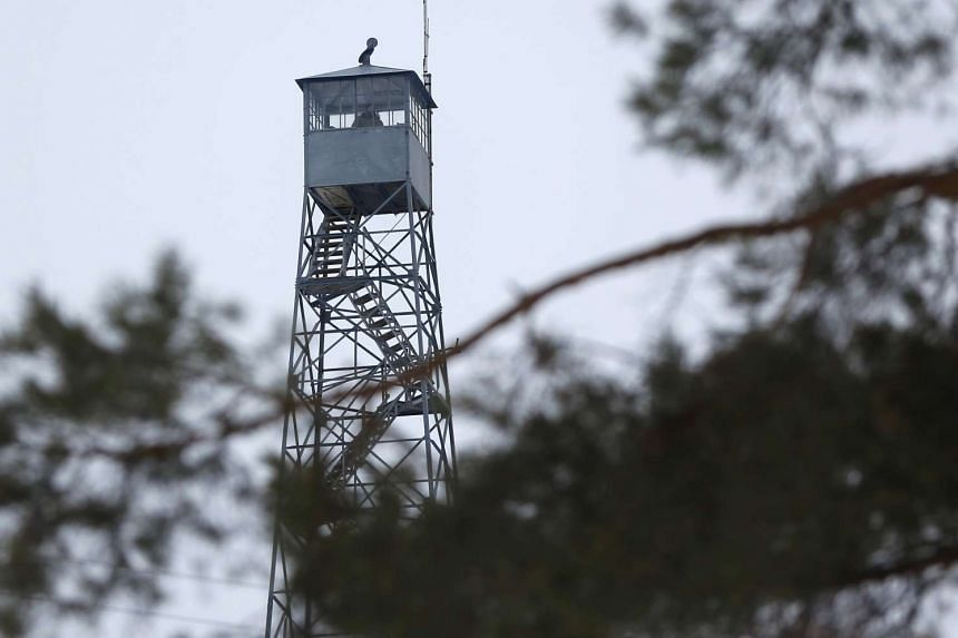 A watch tower is manned by a self-styled armed militia group that has seized the Malheur National Wildlife Refuge headquarters near Burns, Oregon in the US.