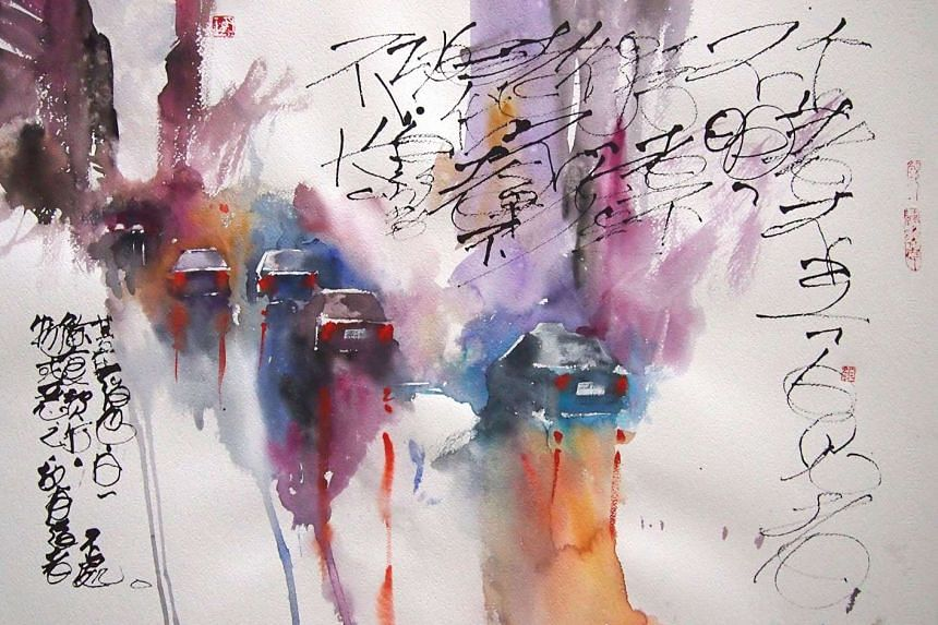 TV 2015, watercolour on paper (above), is one of the watercolour works from the Calligraphy Series featured in the solo exhibition of Aaron Gan.