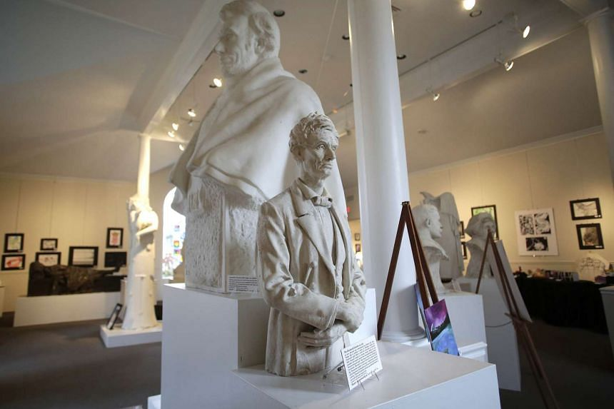 Sculptures of 19th-century US president Abraham Lincoln by George Grey Barnard at the Kankakee County Museum. The missing hand sculpture had been on display at the museum since at least 1991, said executive director Connie Licon, adding that this was