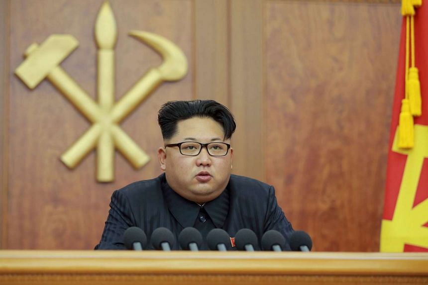 North Korean leader Kim Jong Un gives a New Year's address for 2016 in Pyongyang.