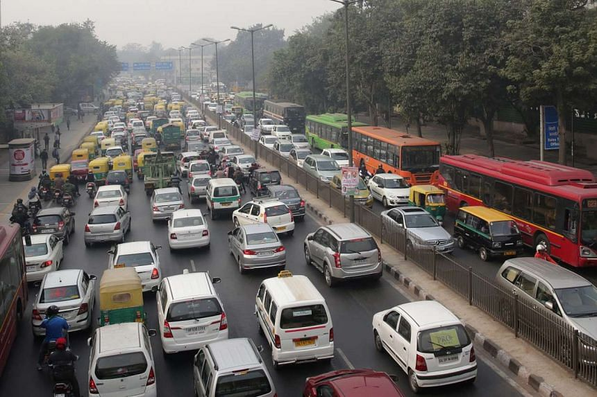Cars stuck in traffic during the fourth day of the odd-even pollution reduction scheme in Delhi, India.