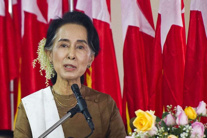 Ms Aung San Suu Kyi delivers a speech in Yangon on Jan 4, 2016.