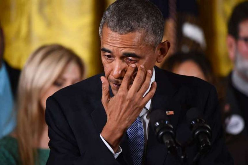 US President Barack Obama gets emotional as he delivers a statement on executive actions to reduce gun violence on Jan 5, 2016 at the White House in Washington, DC.