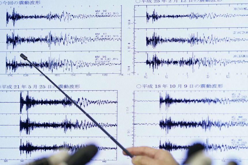 A chart in the Japan Meteorological Agency displays data after North Korea's nuclear test.