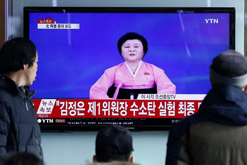 A TV showing North Korean breaking news at Seoul station on Jan 6.