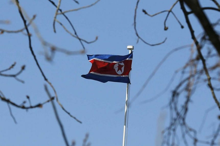 A North Korean flag is pictured at its embassy in Beijing on Jan 6, 2016.