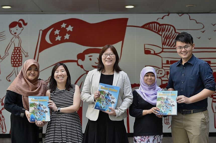 The Ministry of Education team that worked on revising the upper secondary social studies syllabus includes (from left) assistant director Azlinda Samsudin, curriculum planning officer Sandra Yam, deputy director for humanities Marilyn Lim, senior cu