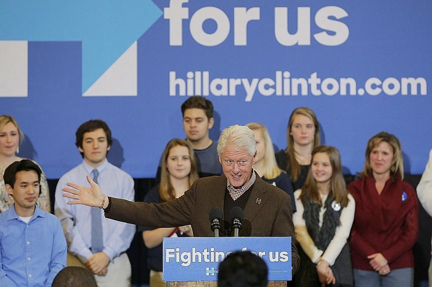 At a rally in Nashua, Mr Bill Clinton (above) paid tribute to his wife's determination to make America a fairer, safer country for the poor and struggling middle classes, and warned that key gains in environmental and healthcare policy would be rever