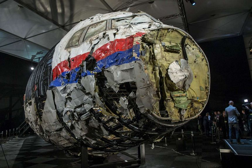 The reconstructed wreckage of the MH17 plane.