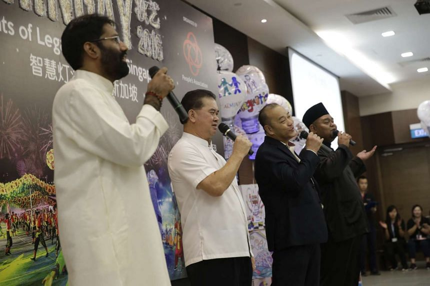 Religious leaders performing a song during a media conference for Chingay 2016 at People's Association HQ on Jan 7, 2016.
