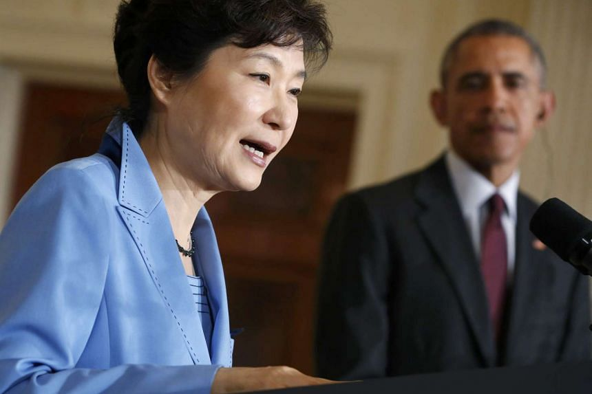 US President Barack Obama and South Korean President Park Geun Hye speaking at the White House on Oct 16, 2015.