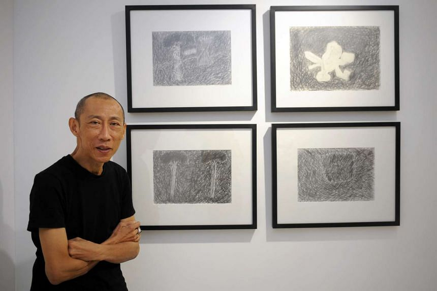 Performance artist Lee Wen at his first solo exhibition of paintings and drawings.