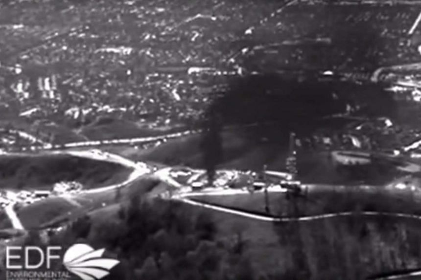 A handout infrared aerial video grab showing a view of the natural gas leak at the Aliso Canyon storage facility.