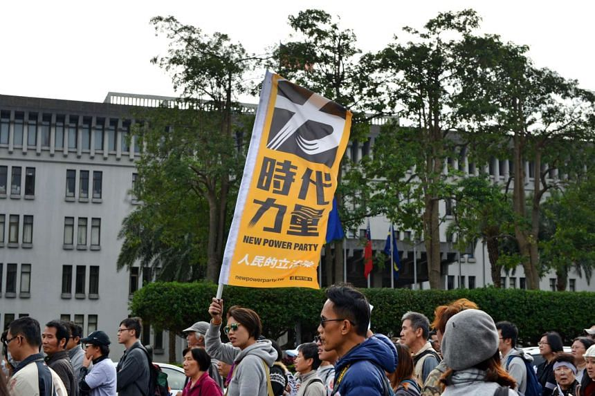 A member of the New Power Party displaying the party flag during a protest against food safety in Taipei on Dec 12, 2015.