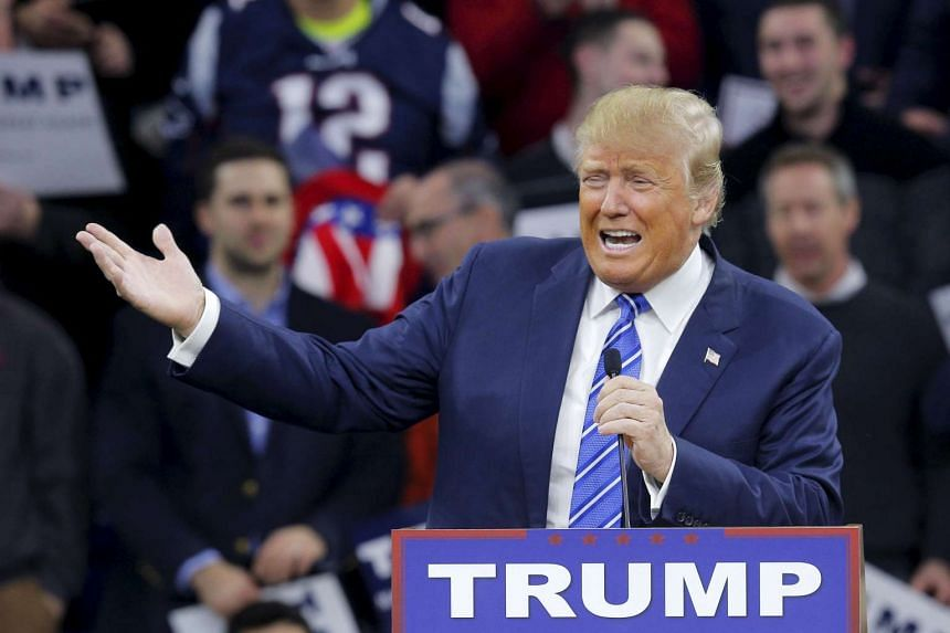 Republican presidential candidate Donald Trump speaking at a rally in Lowell, Massachusetts, on Jan 4.