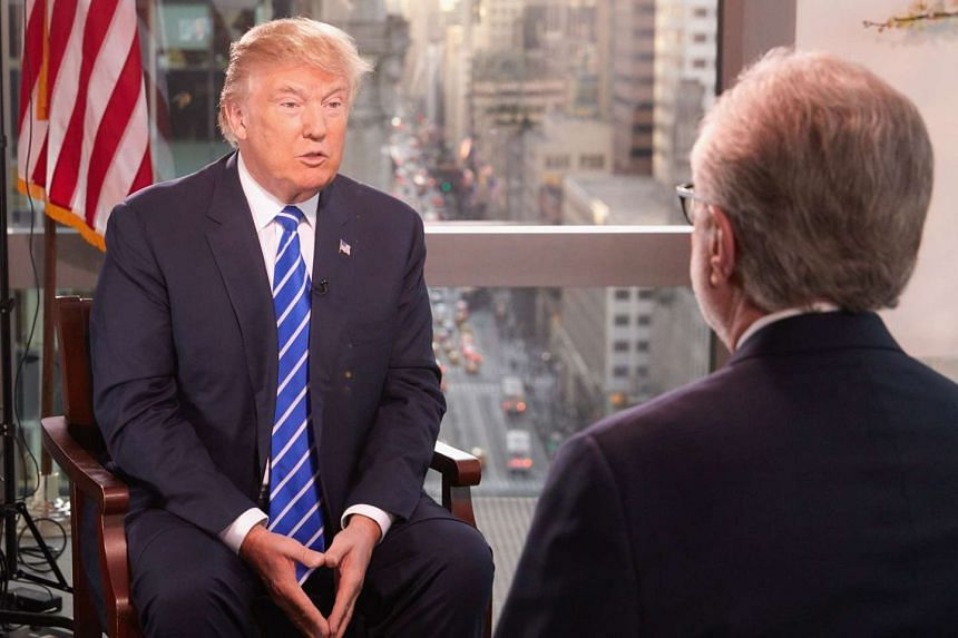 Mr Donald Trump (left) being interviewed by Wolf Blitzer for The Situation Room on CNN.