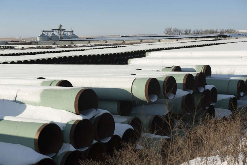 A depot used to store pipes for TransCanada Corp's planned Keystone XL oil pipeline.