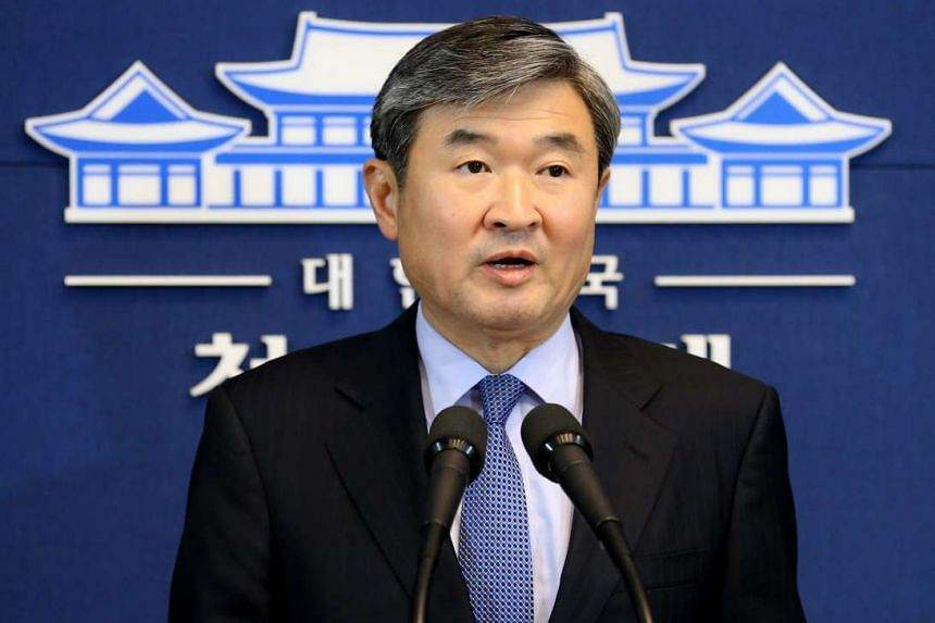 Deputy chief Cho Tae Yong of the presidential national security office announces that South Korea will resume broadcasts of propaganda against North Korea through border loudspeakers, in Seoul, South Korea on Jan 7, 2016.