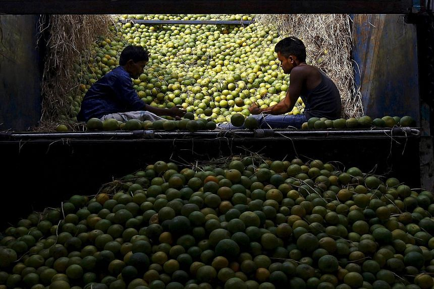 Workers sorting sweet limes at a fruit market in Kolkata, India. Emerging markets will continue to see weak growth, which will affect efforts to combat poverty, says the World Bank.