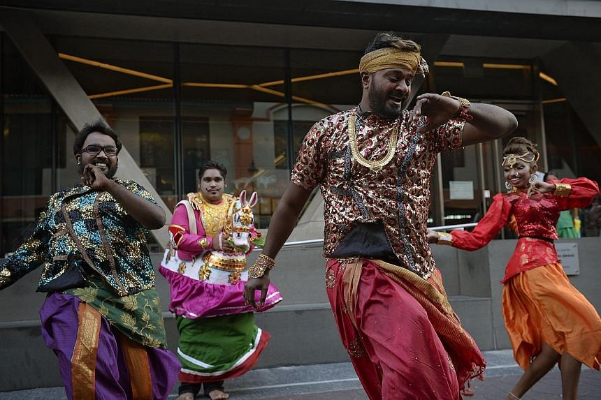 Dancers performing a folk dance called Poikkal Kuthirai. This year, the Pongal celebration will have more interactive performances as well as more activities targeting young people, such as a design contest, a mini farm and a heritage carnival.