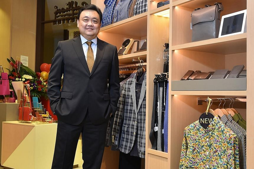 Goldlion Singapore chief executive officer Benjamin Lee (above) at the brand's concept store at Capitol Piazza.