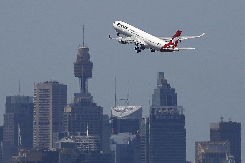 A Qantas jet takes off from Sydney International Airport. Except for Qantas, the other airlines in the top 20 were not given positions.