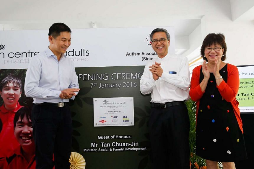 Minister for Social and Family Development Tan Chuan-Jin (left) attending the opening of the Eden Centre for Adults on Jan 7. With him are Autism Association of Singapore chairman Ho Swee Huat (centre) and Central Singapore District mayor Denise Phua