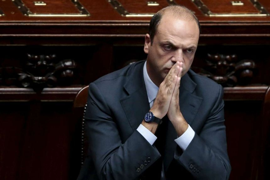 Italy's Interior Minister Angelino Alfano gestures during an address to the lower house of the Italian Parliament in Rome on Oct 4, 2013.