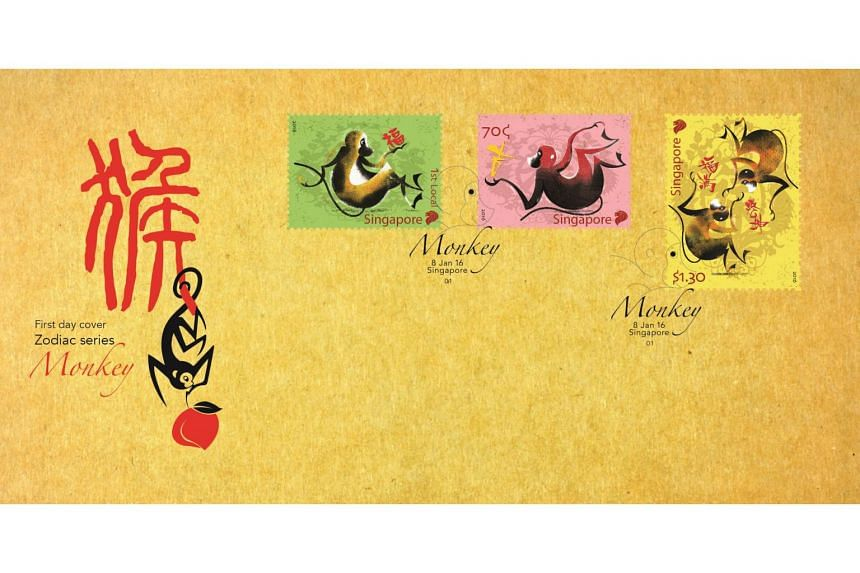 The Zodiac Monkey Pre-cancelled First Day Cover affixed with a complete set of stamps.