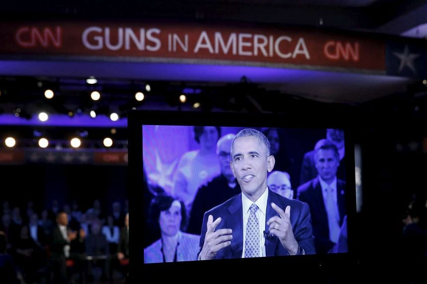 US President Barack Obama is seen on a monitor as he speaks at an event on reducing gun violence on Jan 7, 2016.