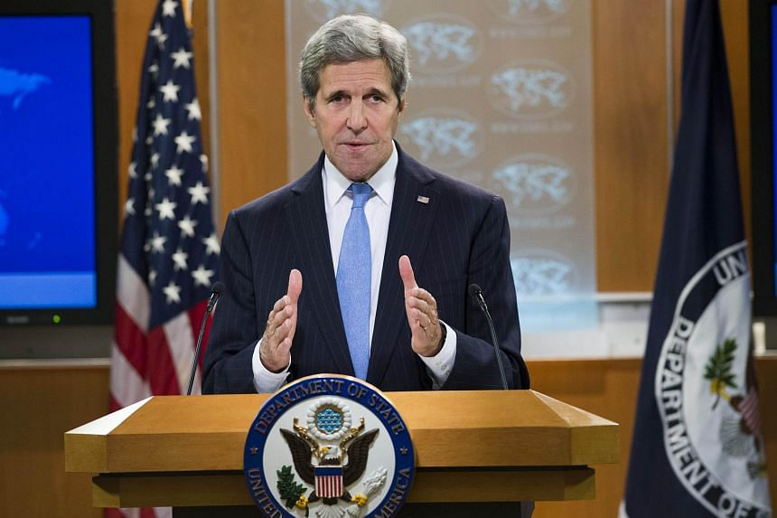 US Secretary of State John Kerry speaking during a press briefing at the State Department in Washington, DC, on Jan 7, 2016.