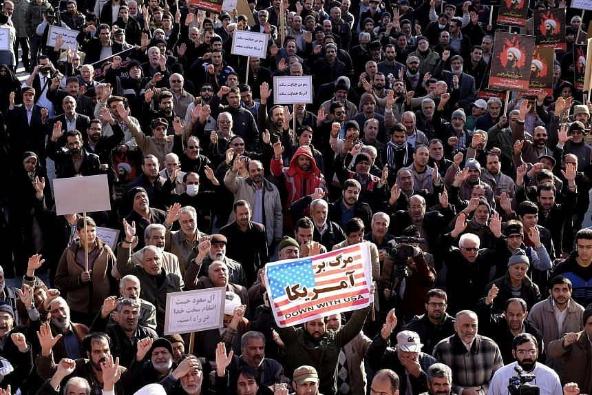 Protesters in Teheran chanting slogans during a demonstration against the execution of Sheikh Nimr al-Nimr in Saudi Arabia.