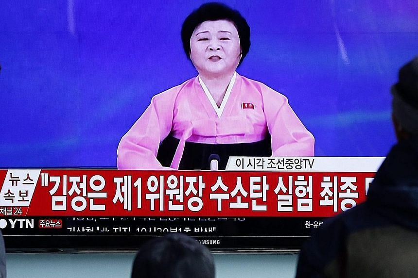 Madam Ri, seen on South Korean TV news, was reportedly brought out of retirement to report the North's nuclear test on Wednesday.