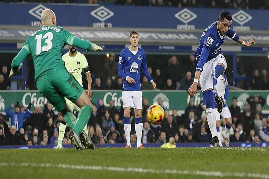 Ramiro Funes Mori opening the scoring for Everton in their 2-1 win on Wednesday. Manchester City claimed Romelu Lukaku had been interfering with play when Mori shot.