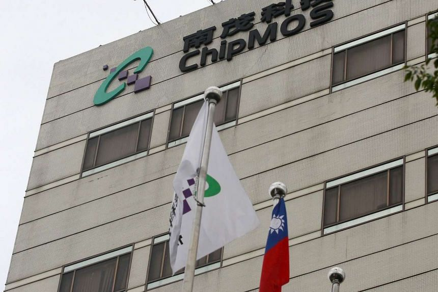 The logo of ChipMOS Technologies is seen on its headquarters in Hsinchu county, northern Taiwan, Dec 23, 2015.