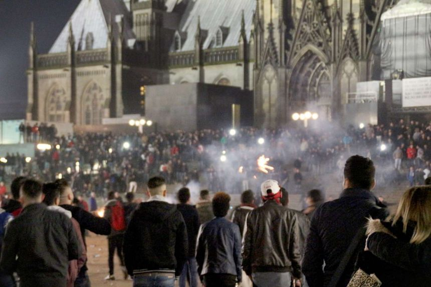 Crowds of people outside Cologne main station on New Year's Eve.