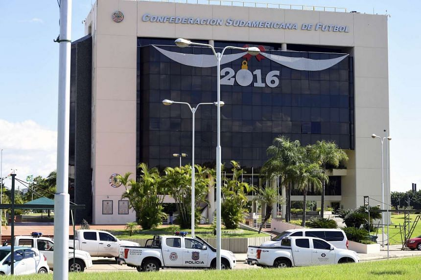 The raid in progress at Conmebol headquarters in Luque, Paraguay.