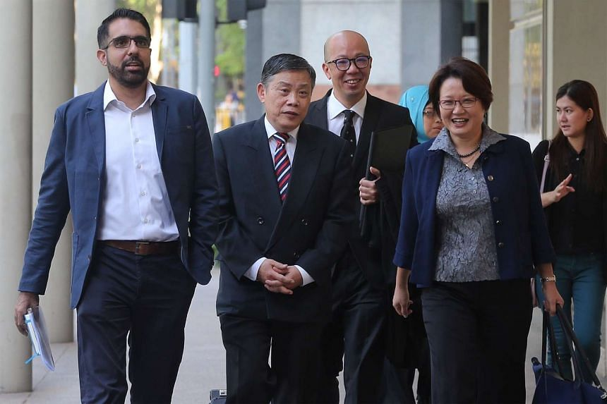 The Workers' Party's Pritam Singh (left) Terence Tan (third from left) and Sylvia Lim (second from right) arriving at the Supreme Court on Jan 7.
