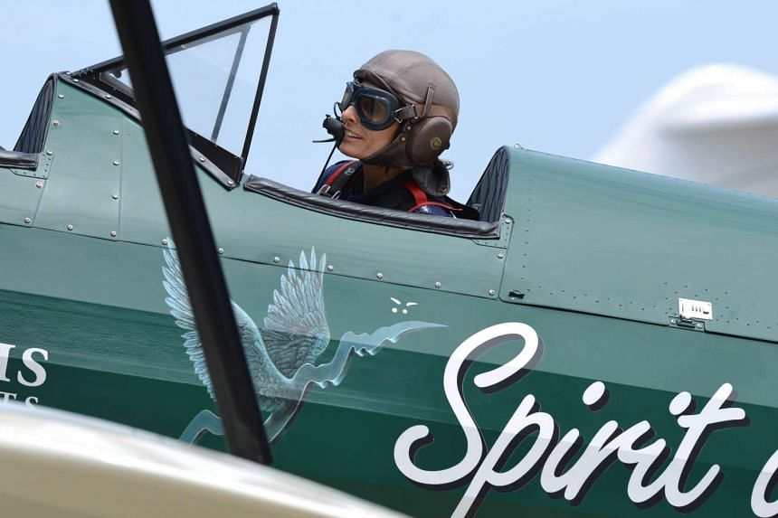 Adventurer Tracey Curtis-Taylor taxiing in her vintage, open-cockpit 1942 Boeing Stearman aircraft after landing at Sydney International Airport Jan 9, 2016.