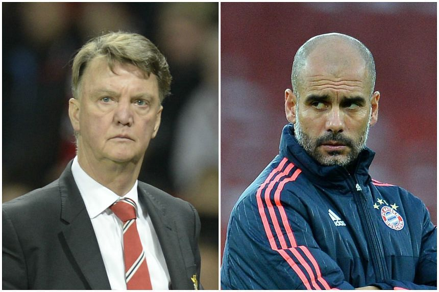 Louis van Gaal (left) has claimed that Pep Guardiola's ambition to work in the Premier League will have no impact on his position as Manchester United manager.