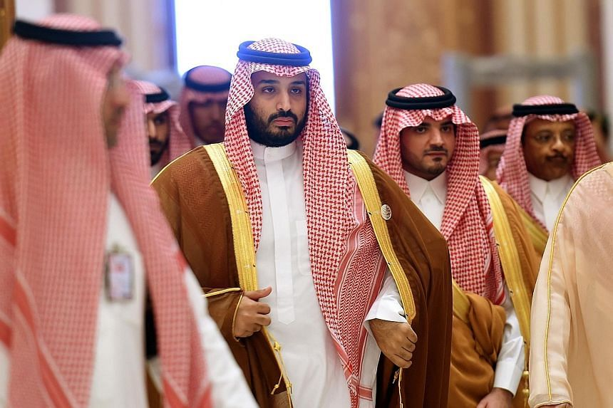 "Saudi Prince Mohammed (second from left), seen here at the Arab-South American summit held in Riyadh last November, says the kingdom went to war in Yemen because the ""Houthis usurped power in the capital""."