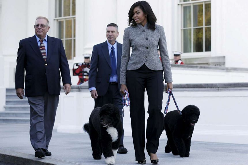 First Lady Michelle Obama with pets Bo and Sunny.