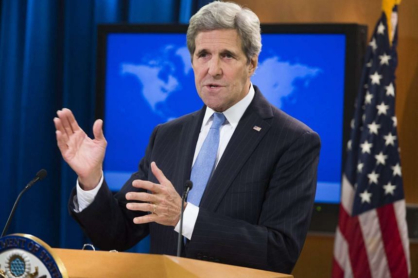 US Secretary of State John Kerry speaking during a press briefing at the State Department in Washington, DC, on Jan 7.