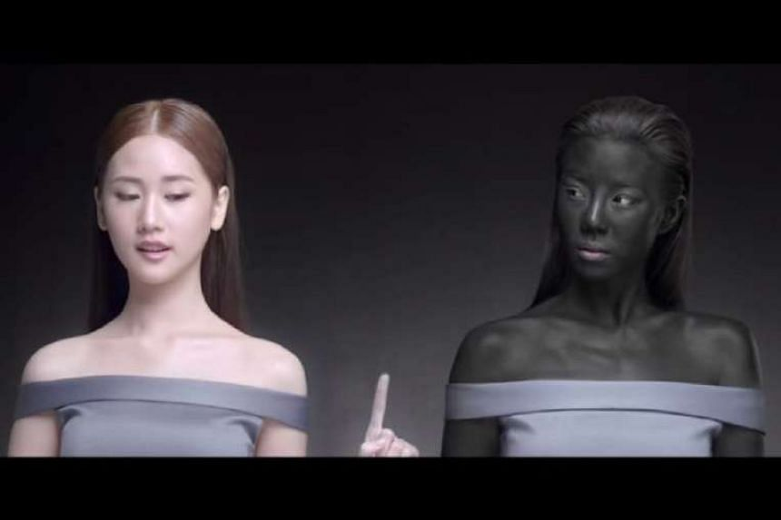 A screengrab of the skin whitening advertisement.